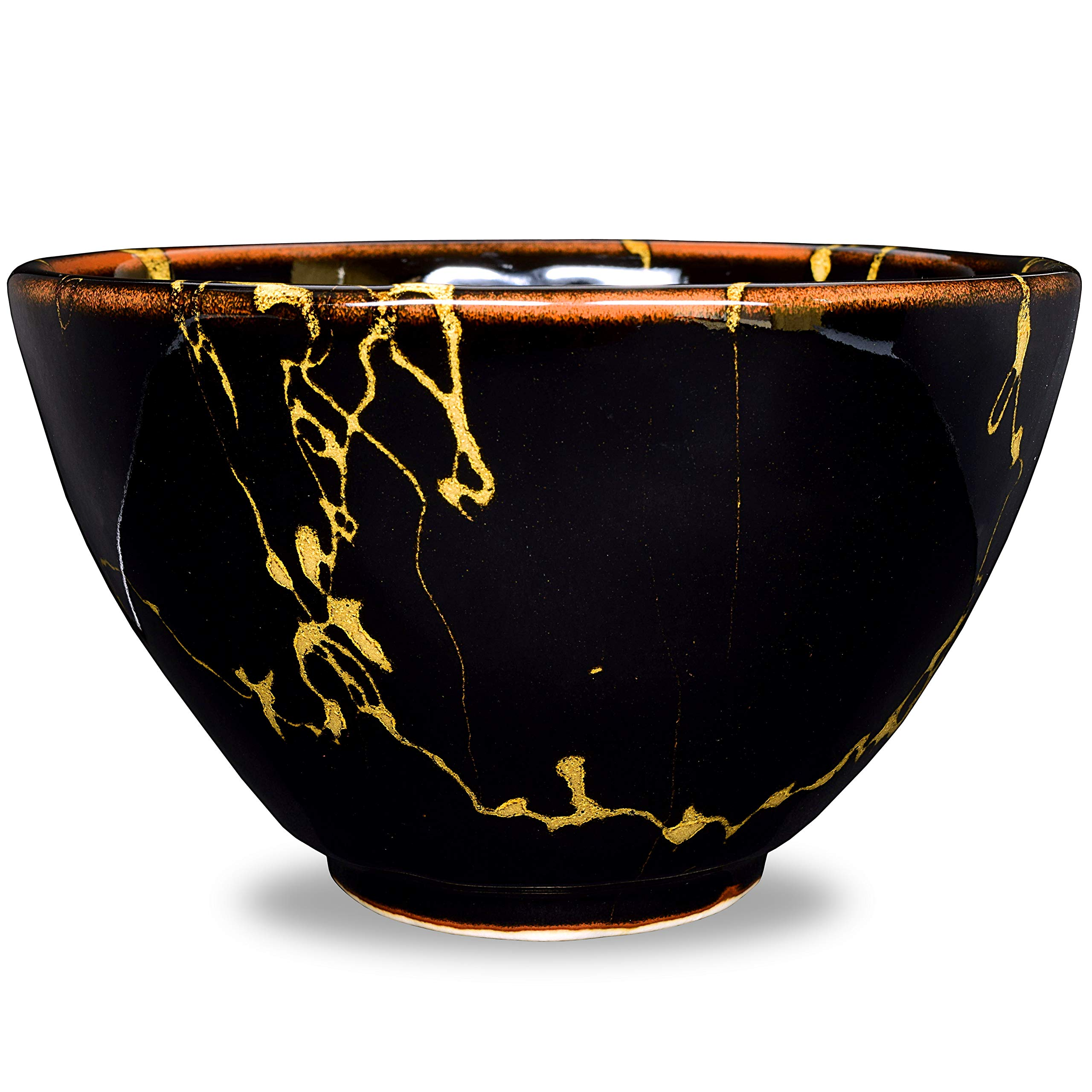 Japanese Handcrafted Matcha Bowl Black, Multi Purpose Bowl, Authentic Mino Ware Pottery, Hotarubi Hime Chawan by Mino Ware