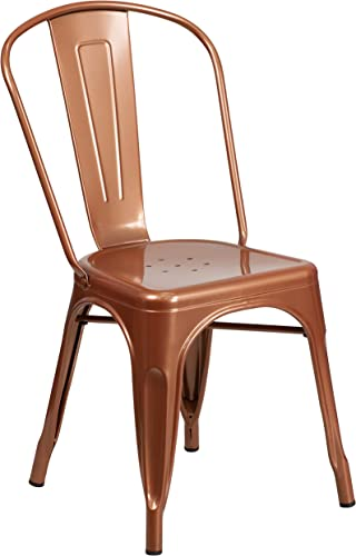 Flash Furniture Commercial Grade Copper Metal Indoor-Outdoor Stackable Chair