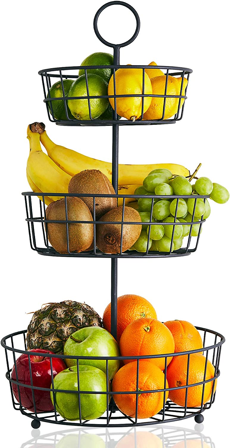 3 Tier Fruit Basket French Country Wire Basket By Regal Trunk Co Three Tier Fruit Basket Stand For Storing Organizing Vegetables Eggs And More Fruit Basket For