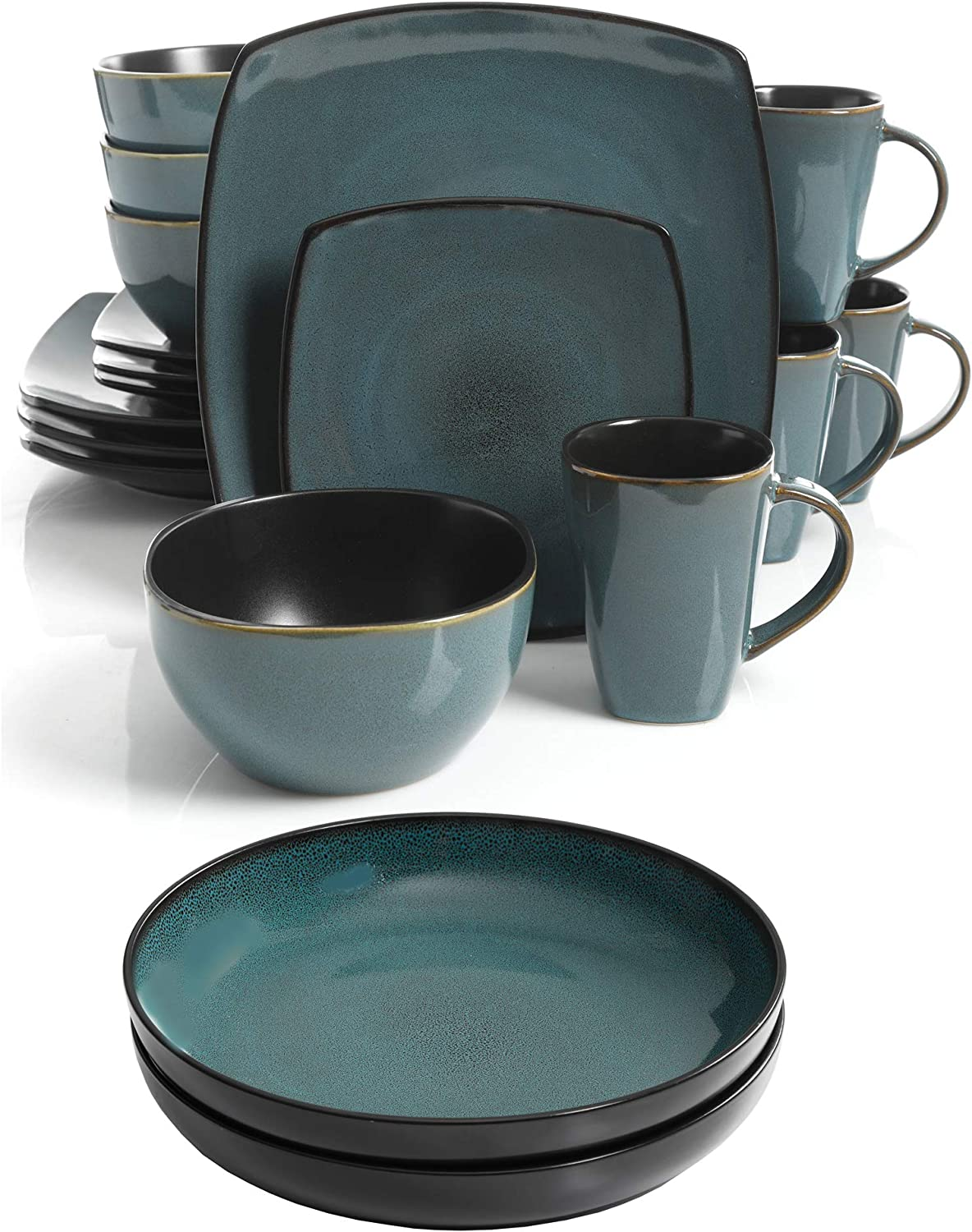 A.T. Products Corp. Soho Lounge 16 Piece Square Stoneware Dinnerware Set, Teal bundle with Soho Lounge 8.86 Inch Dinner Bowls, Teal, Set of 2