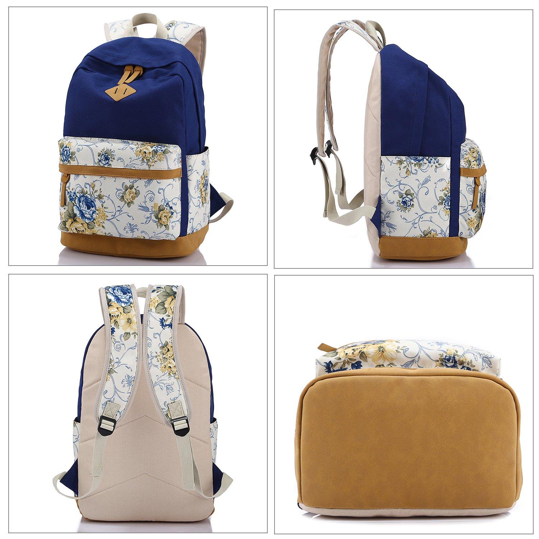 BP5G1B7 Floral Red Set Abshoo Lightweight Canvas Cute Girls Bookbags for School Teen Girls Backpacks With Lunch Bag