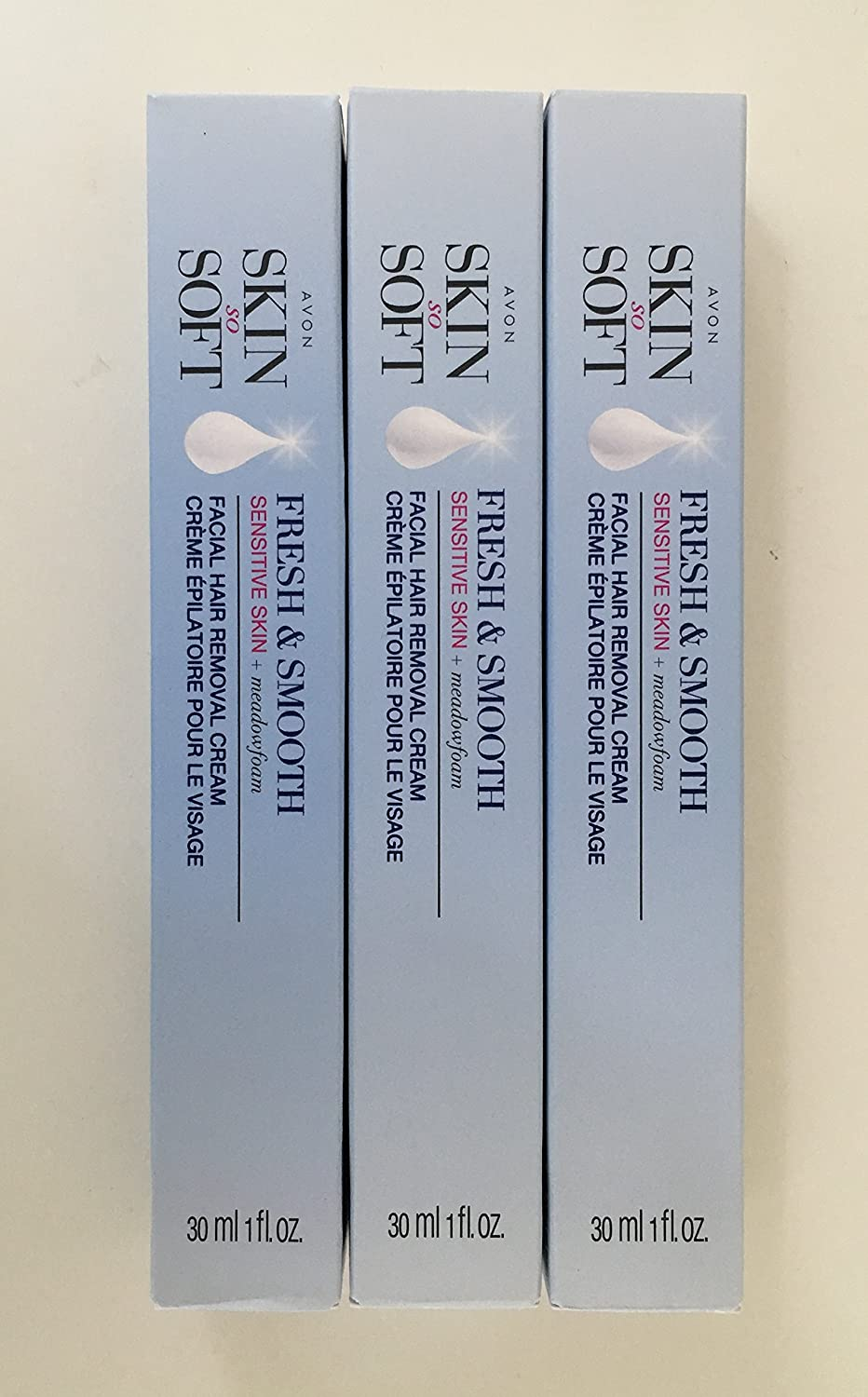 Avon Skin So Soft Fresh & Smooth Sensitive Skin Facial Hair Removal Cream - Set of 3