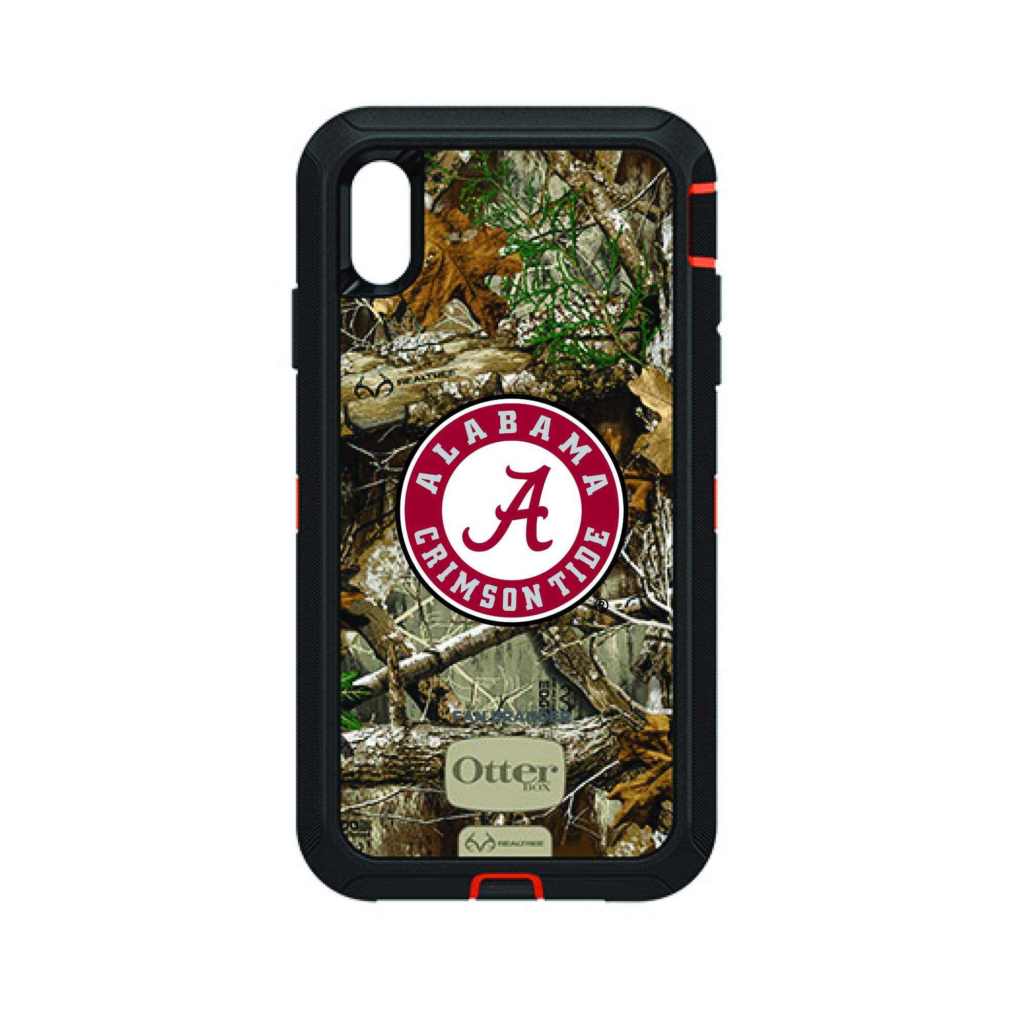 Fan Brander NCAA Black Phone case with Realtree Background, Compatible with Apple iPhone Xs Max and with OtterBox Defender Series (Alabama Crimson Tide)