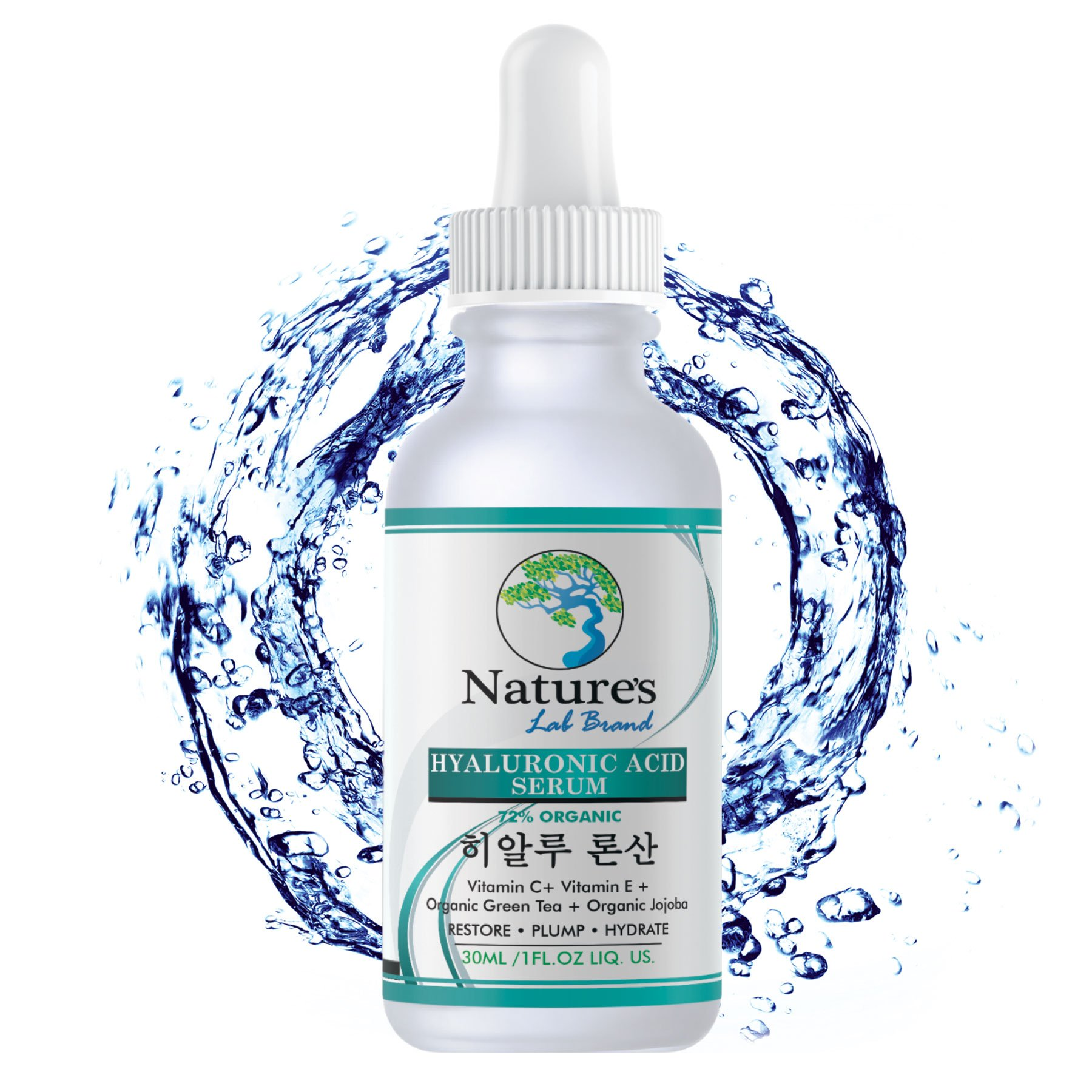 Organic Korean Beauty Hyaluronic Acid Serum for Face + Vitamin C Vitamin E - BEST Advanced Anti Aging formula Anti Wrinkle for whitening hydration all Natural Vegan Korean Skincare Natures Lab Brand by Natures Lab Brand