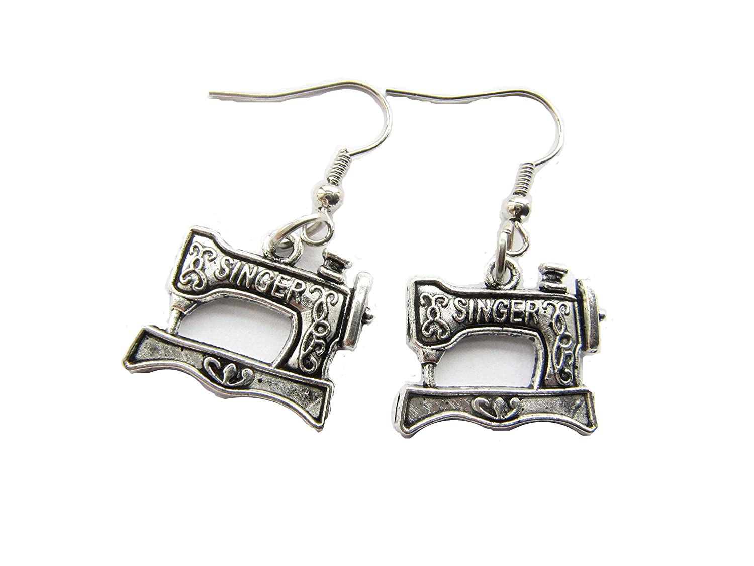 Sewing Maching Vintage Inspired Charm Earrings,ancient silver Sewing Machine Seamstress Jewelry Quilters Gift