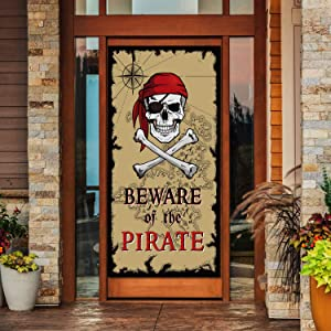 Beware of Pirates Door Banner Pirate Party Decoration Pirate Backdrop Halloween Birthday Party Photo Booth Props Pirate Theme Party Supplies
