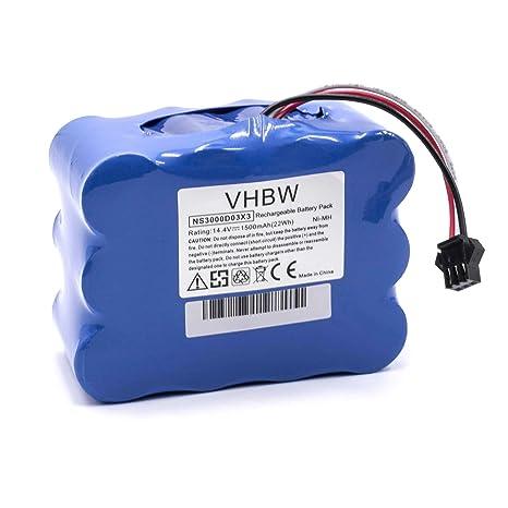 vhbw Batería NiMH 1500mAh (14.4V) para robot aspirador, Home Cleaner, robot