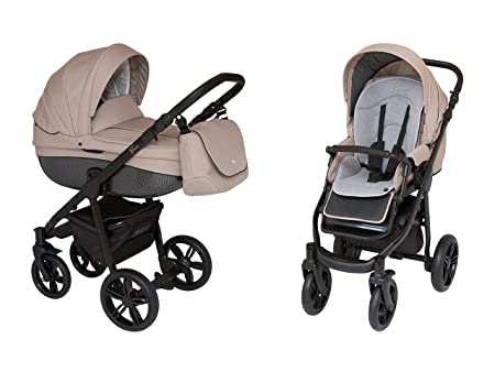 ROAN BASS Soft Stroller 2-in-1 with Bassinet for Baby, Toddler s Five Point Safety Reversible Seat, Swivel Air-Inflated Wheels, Unique Shock Absorbing System and Great Storage Basket Smoky Beige