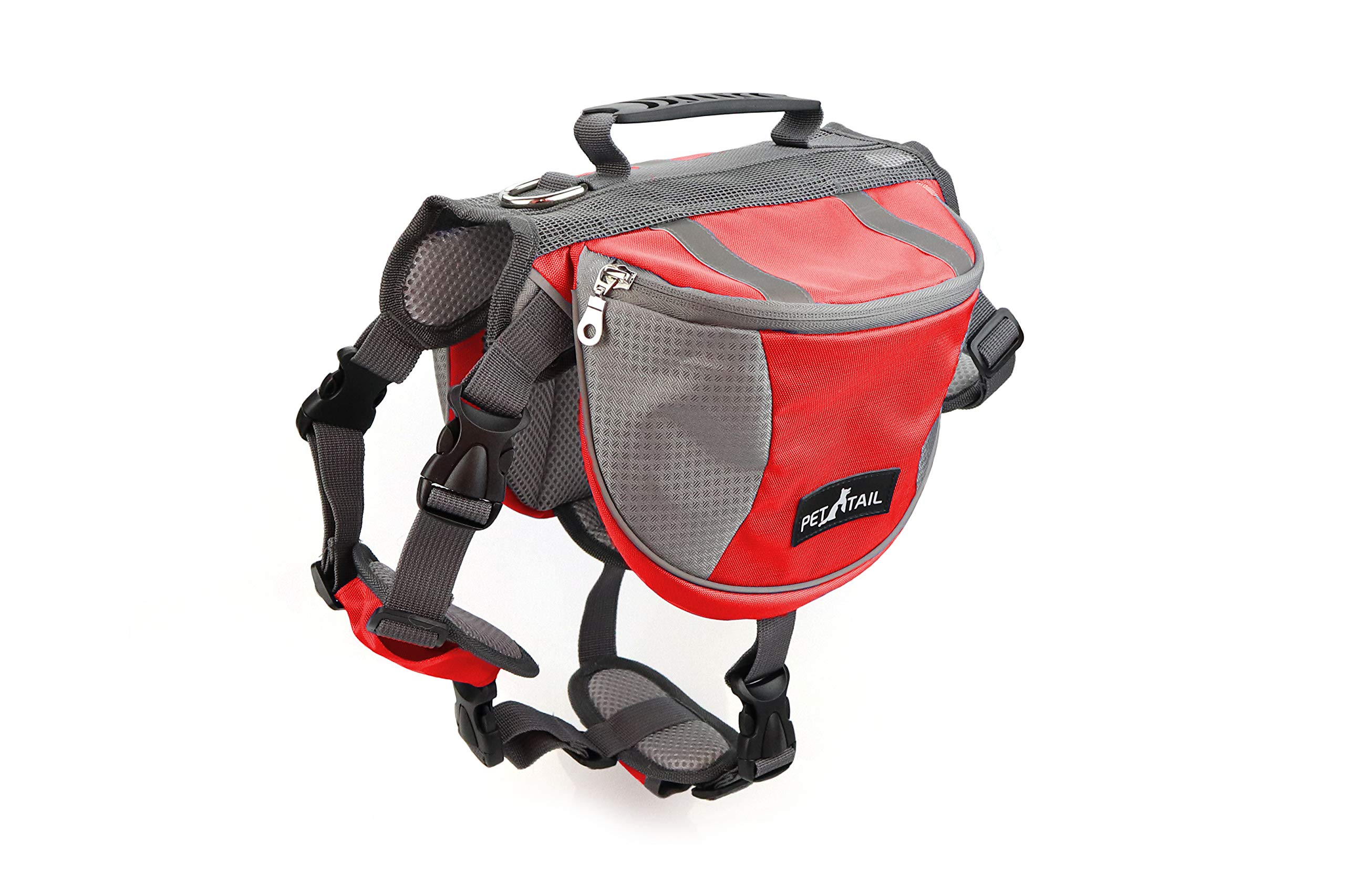 PETTAIL Hound Dog Saddlebags Hiking Gear Equipment Backpack Lightweight for Tactical Training, Travel (Large, Red)