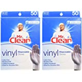 MR. CLEAN Latex Free VINYL Disposable Cleaning Gloves with BEADED CUFF, 50 Count, 2 Pack