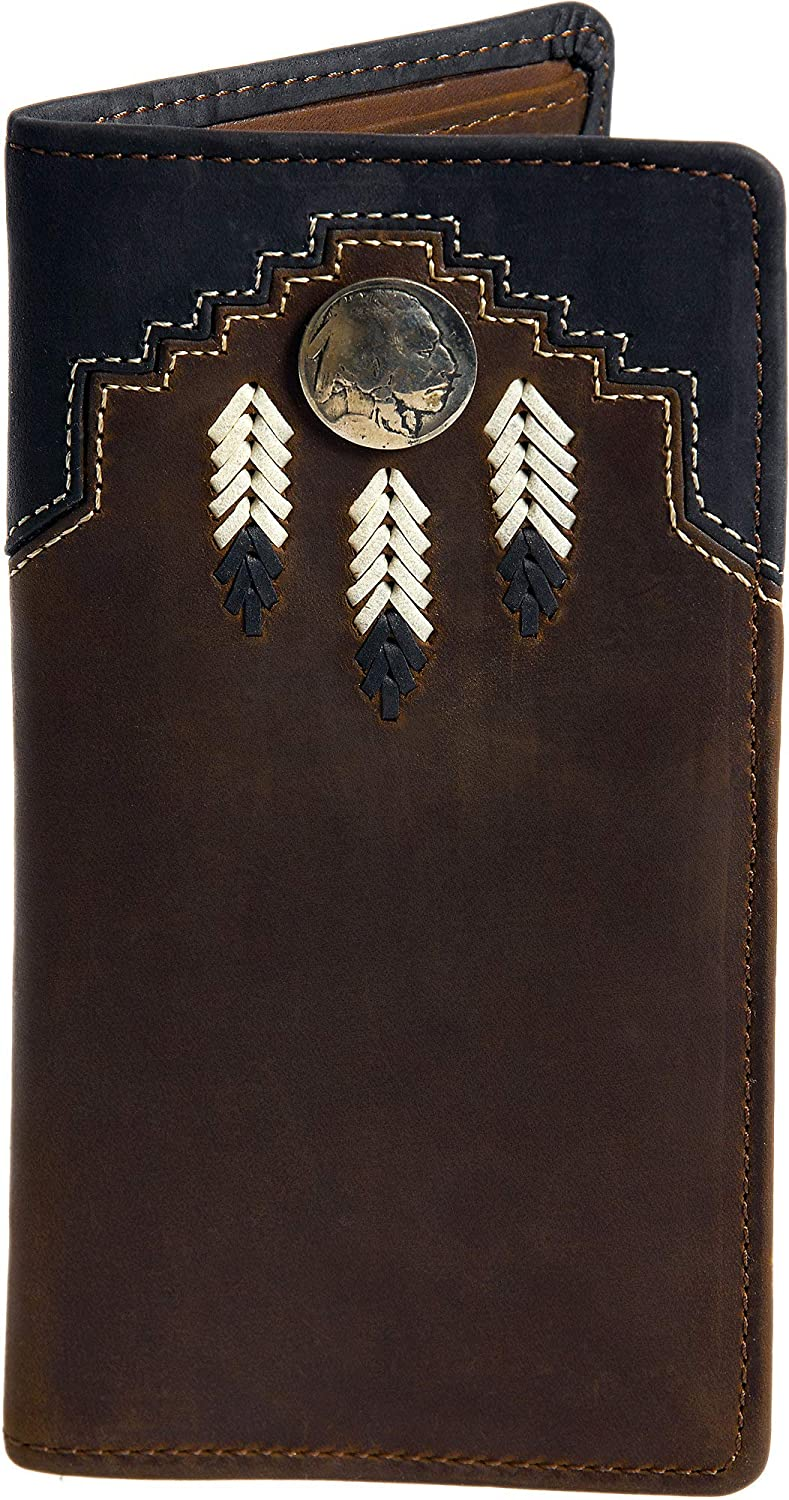 Chieftain Feather Leather Checkbook Wallet Overland Sheepskin Co. 734331_SZBRWN