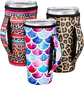 3 Pieces Reusable Iced Coffee Cup Sleeve Neoprene Cup Insulator Sleeve Cup Cover Holders Insulated Sleeves Drinks Sleeves for 30 oz Cold Hot Beverages, 3 Styles