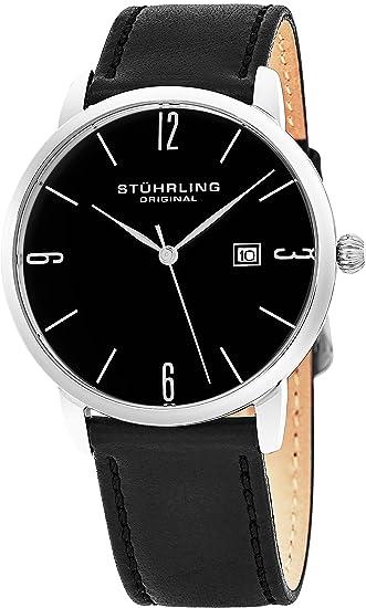 Stuhrling Original Reloj de Lujo para Vestir Cuarzo Japonés Hombres y Mujeres Dial Negro Caja 40