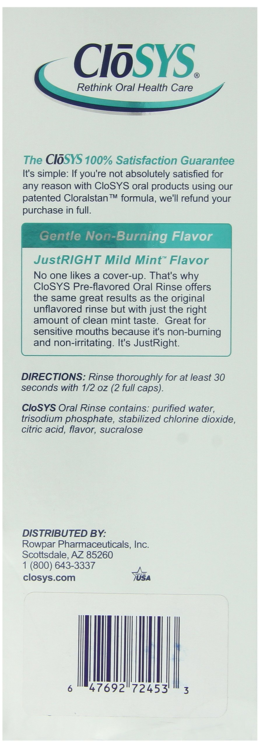 CloSYS Gentle Mint Flavored Mouthwash for Sensitive Mouths, Alcohol Free, 32 ounce