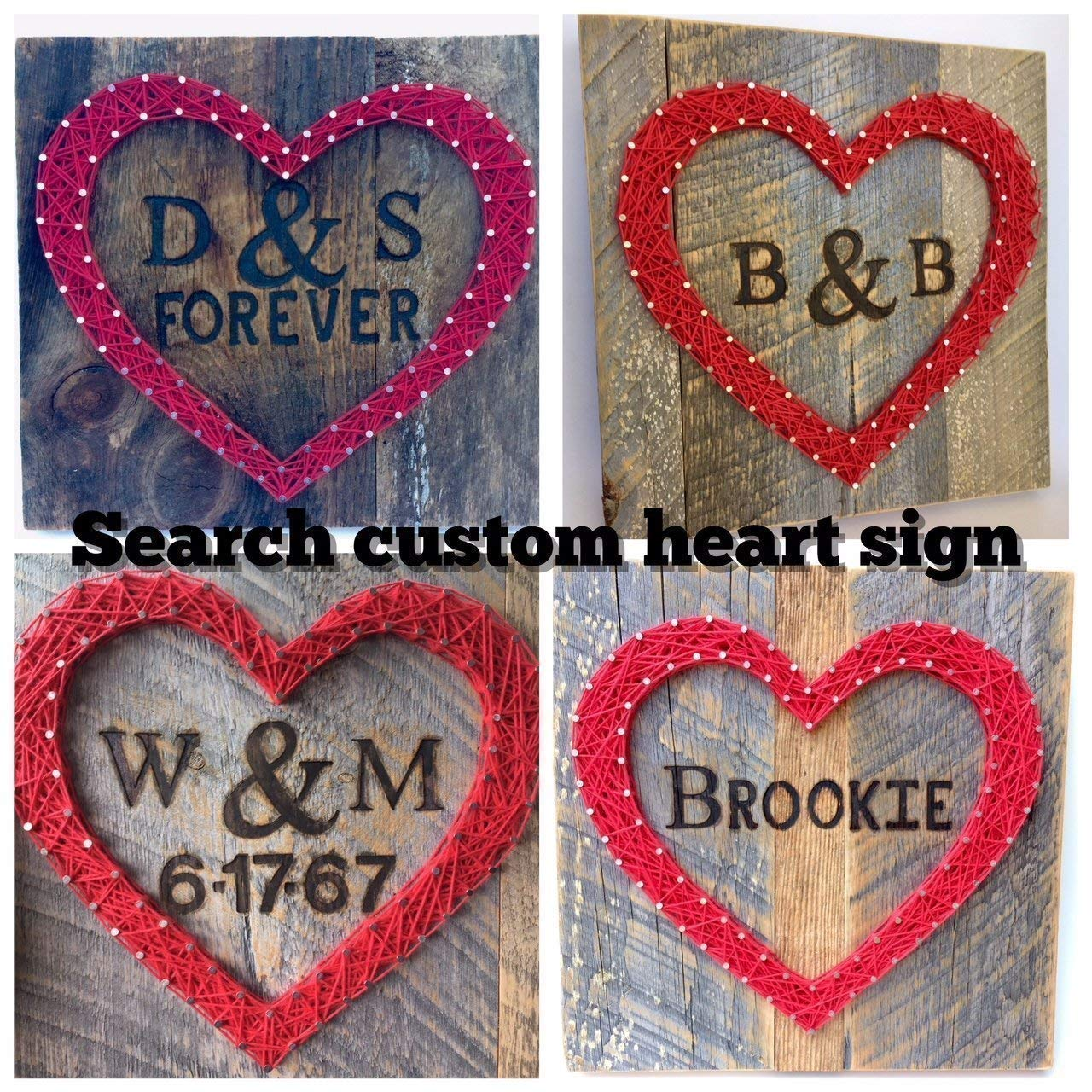 Sweet & small freestanding wooden red string art heart block sign. Perfect for home accents, Wedding favors, Anniversaries, housewarming, teacher, congratulations & just because. by Nail it Art by Nail it Art (Image #7)