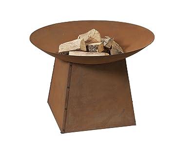 Brasero - ø90 aspecto oxidado en un soporte - Estufa Chimenea de acero con marrón acabado resistente al calor - envío gratis: Amazon.es: Jardín