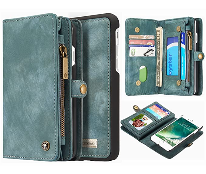 239973b8130a Hynice iPhone 8 iPhone 7 Detachable Wallet Case, Leather Purse for Women  with Card Slots Holder Kickstand Zipper Pocket Removable Shockproof Shell  ...