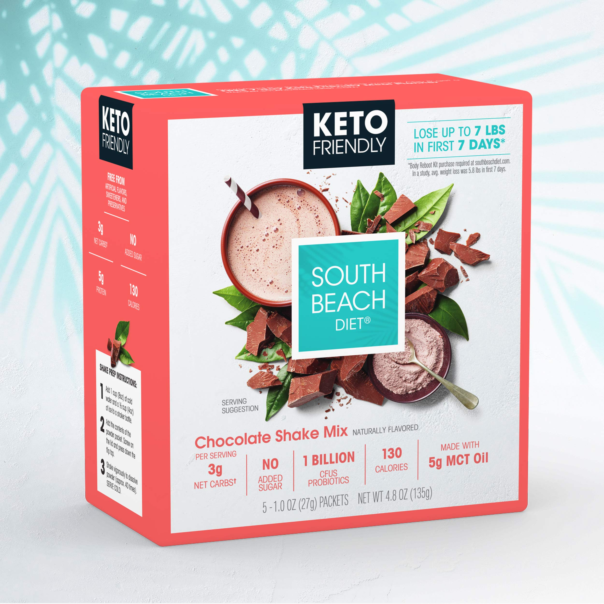 South Beach Diet® Keto-Friendly Shake Mix, Chocolate (20 ct) - Delicious Shakes Made to Support Healthy Weight Loss & Your Keto Lifestyle by South Beach Diet