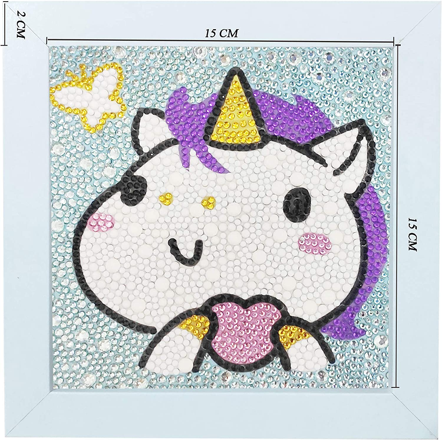 Uniic Diamond Painting by Number Kits for Kids with Wooden Frame Unicorn, 15x20cm