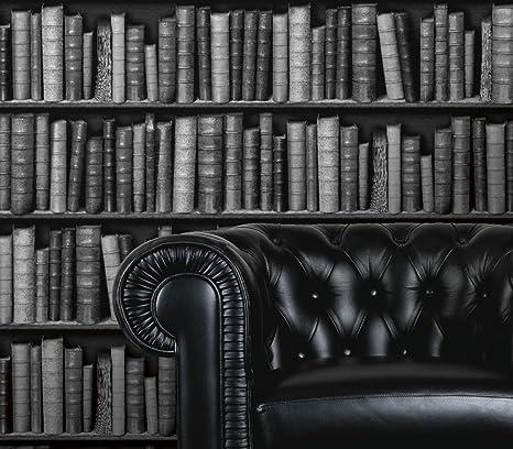 Galerie Bluff 3d Bookcase Effect Textured Feature Wallpaper