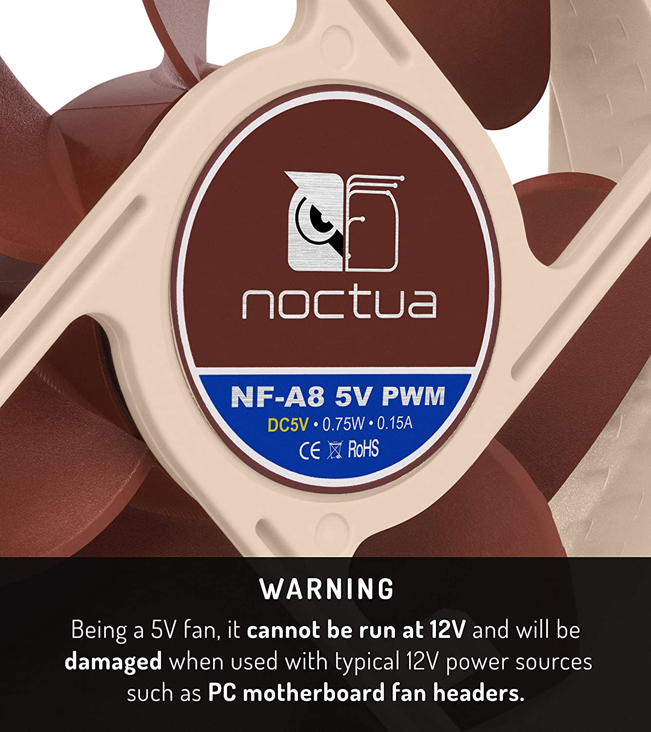5V Version 4-Pin Premium Quiet Fan with USB Power Adaptor Cable 80mm, Brown Noctua NF-A8 5V PWM