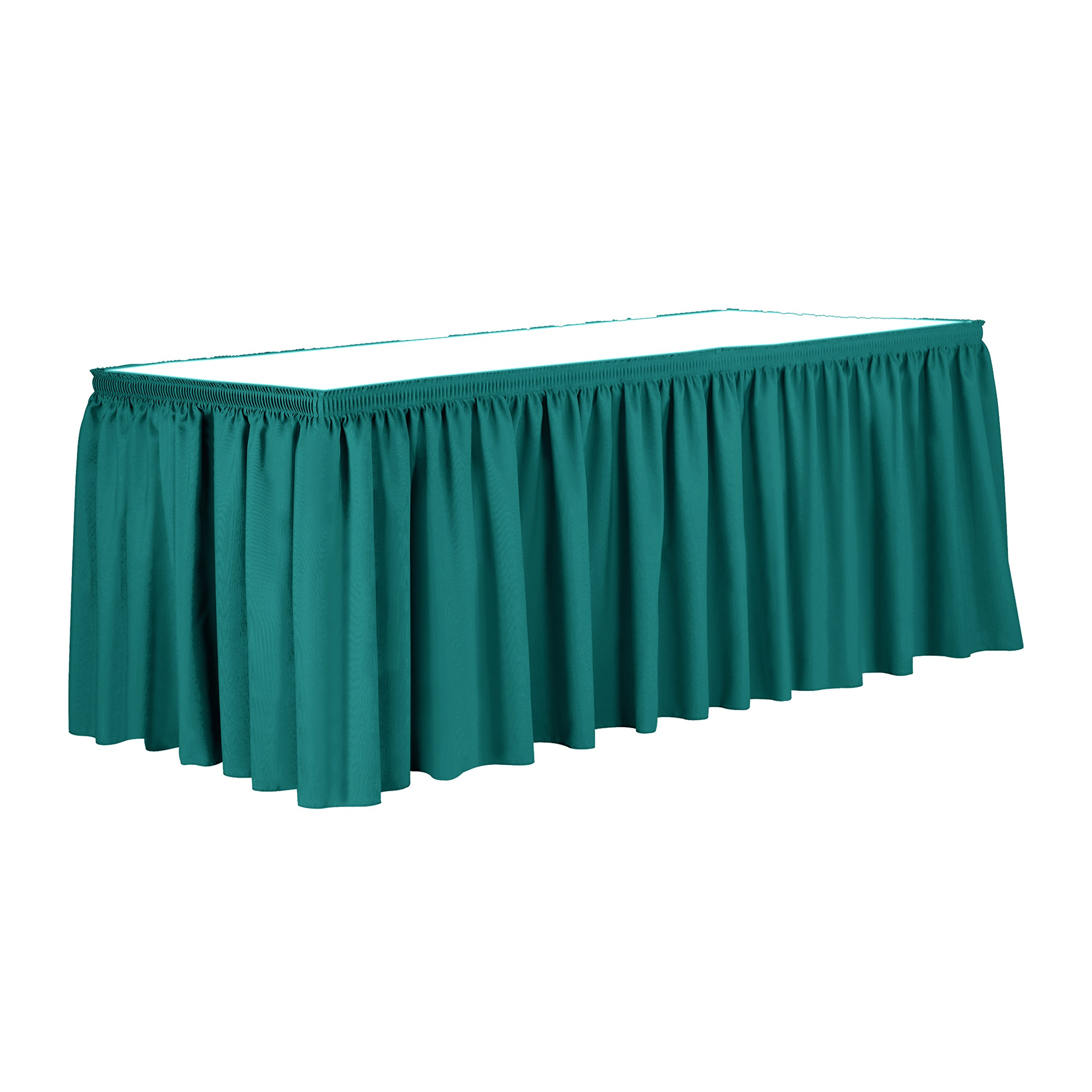 Ultimate Textile 17 ft. Shirred Pleat Polyester Table Skirt Jade