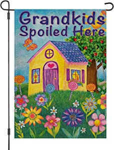 LOYOKI Grandkids Spoiled Here Garden Grandpa Grandma House Flag Burlap Double Sided Yard Outdoor Decoration 12.5 x 18 Inch