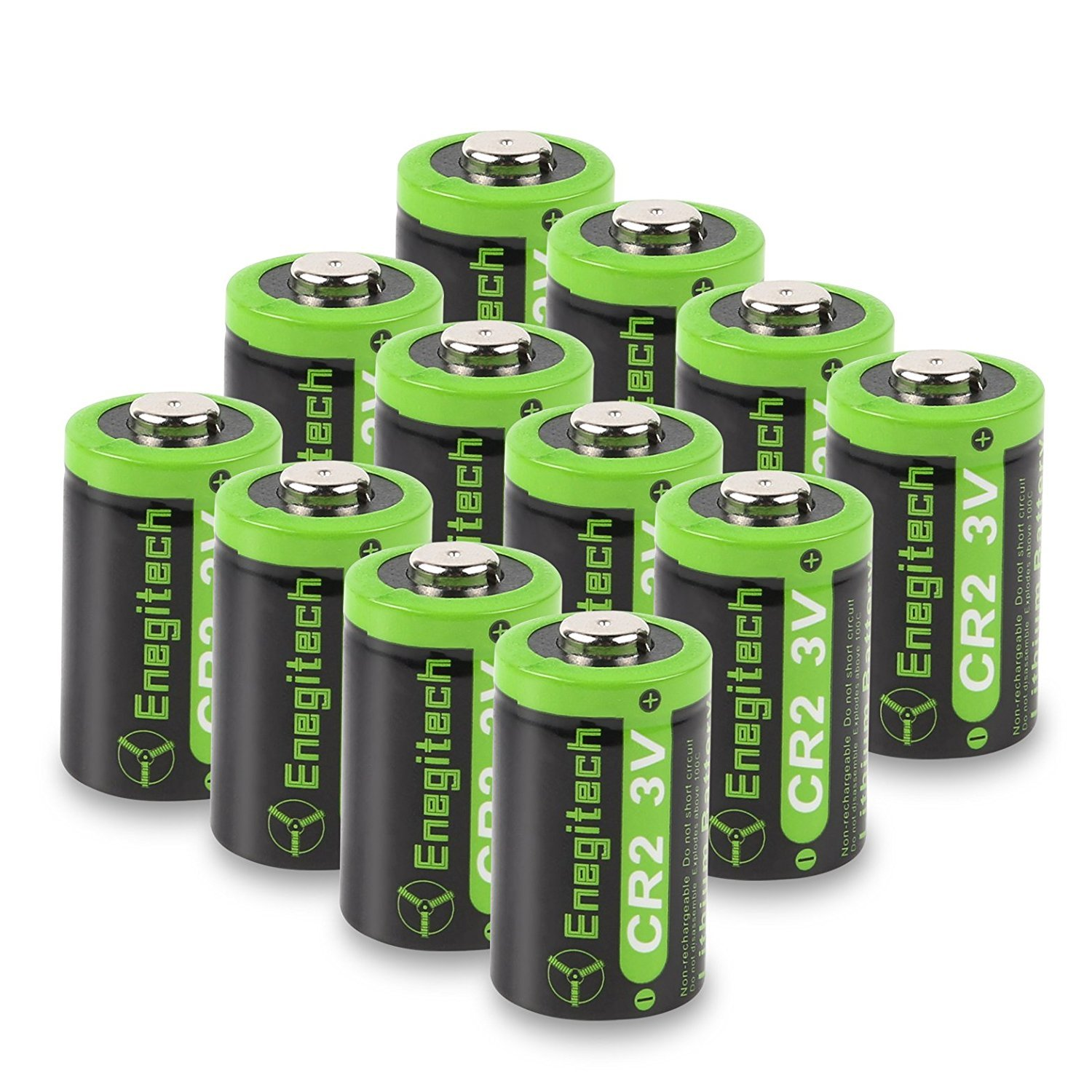 Enegitech 12 Pack CR2 3V 800mAh Lithium Photo Battery with PTC Protection DL-CR2 for Golf Rangefinder, Baby Monitor, Flashlight