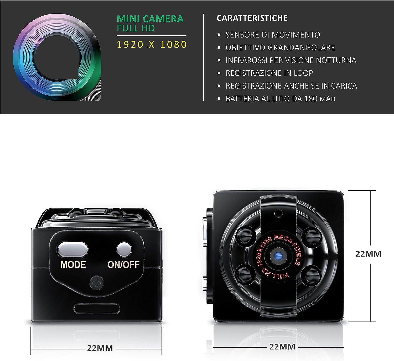 LEGGI Ricaricabile USB IR e Sensore movimento Micro SD Aplic Clip e accessori NUOVA Mini telecamera spia e sorveglianza 1080p