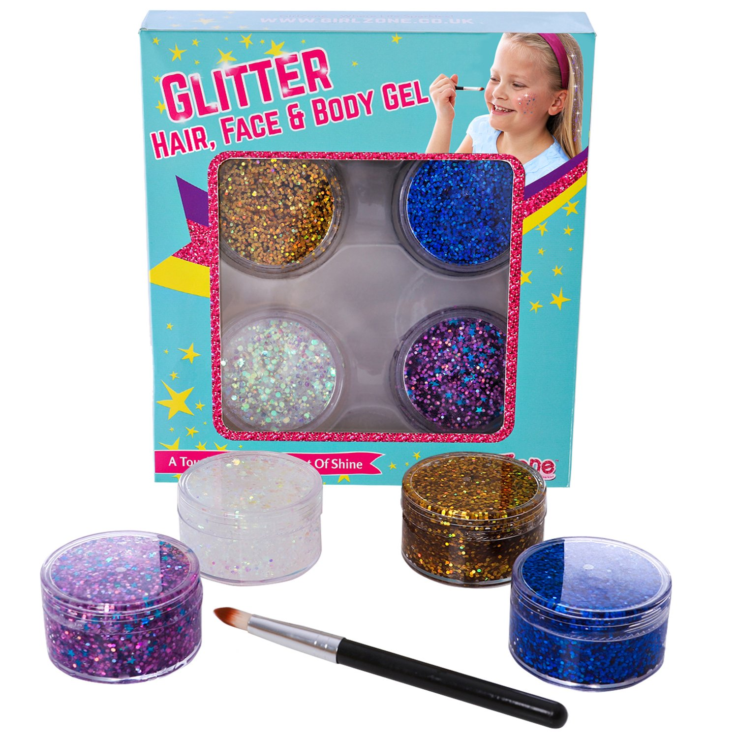 GirlZone GIFTS FOR GIRLS: Face, Hair & Body Cosmetic Glitter Makeup. Great Gift, Birthday Present Idea For Girls 4 5 6 7 8 9 10 years old plus. by GirlZone (Image #3)