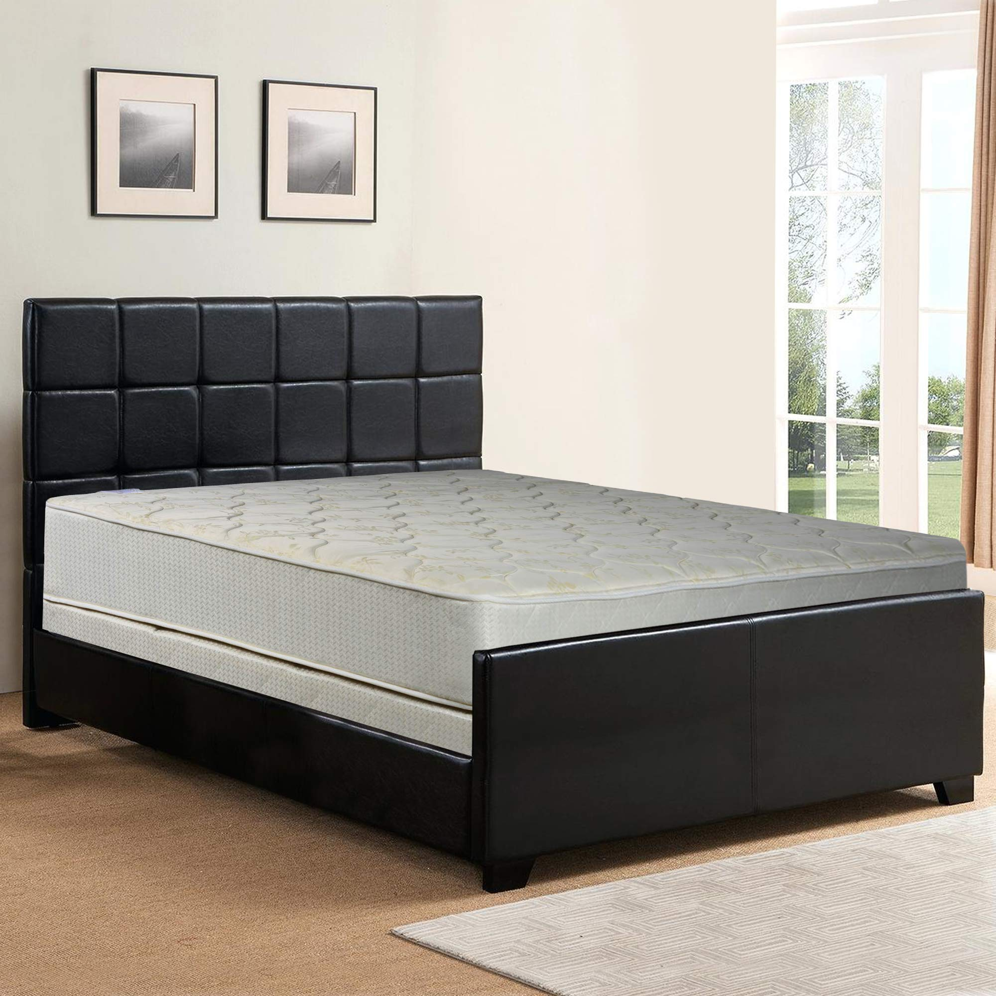 Spring Sleep, 9-Inch Gentle Firm Tight top Innerspring Mattress And 4-Inch Split Wood Traditional Box Spring/Foundation Set, Good For The Back, No Assembly Required, Twin Size 74'' x 38'' by Spring Sleep