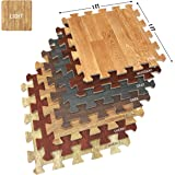 Amazon Com 26 Piece Wood Grain Foam Play Mat Natural Baby