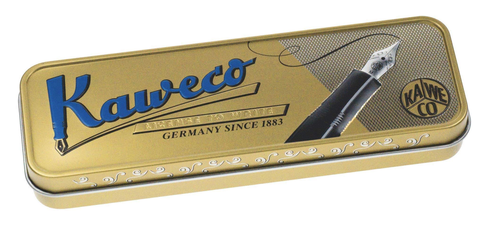 Kaweco AL Sport Fountain Pen (Fine Nib) + Pack of 6 Black Ink Cartridges Gift Set (Brass)