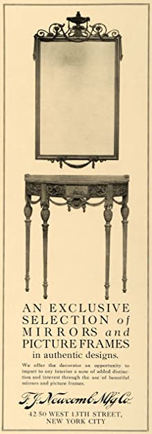 1918 Ad F J Newcomb Mfg. Co. Console Mirrors Furniture   Original Print Ad