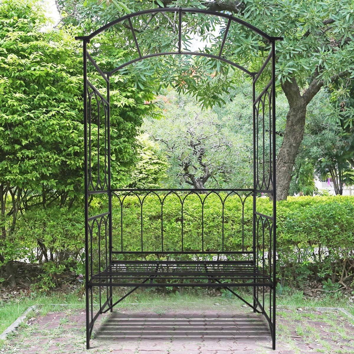Festnight Arbor de jardín para Exteriores con Banco de Asiento ...