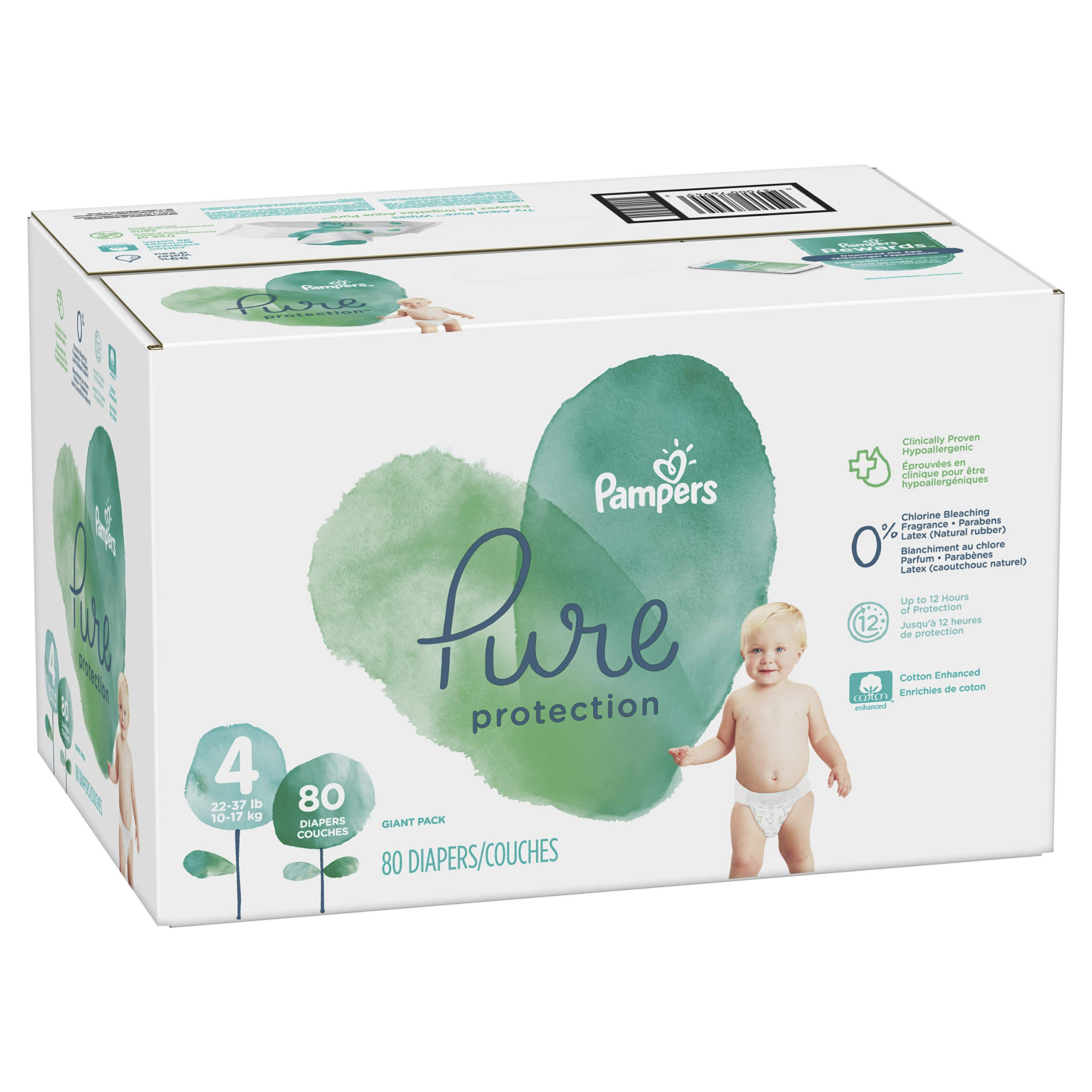 Diapers Size 4, 80 Count - Pampers Pure Disposable Baby Diapers, Hypoallergenic and Unscented Protection, Giant Pack by Pampers