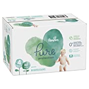 Diapers Size 4, 80 Count - Pampers Pure Disposable Baby Diapers, Hypoallergenic and Fragrance Free Protection, Giant