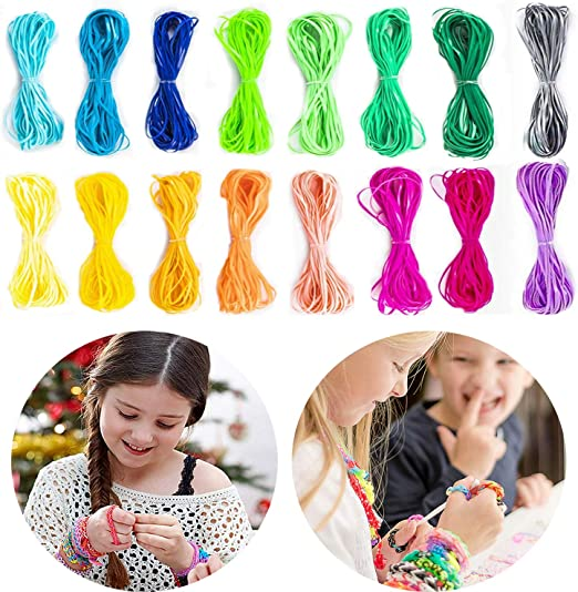 PP OPOUNT 24 Colors Gimp Bracelet Scoubidou String Plastic Lacing Cord with 22 Pieces Snap Clip Hooks and 22 Pieces Key Chain Ring Clips for Bracelet Jewelry Making DIY Craft