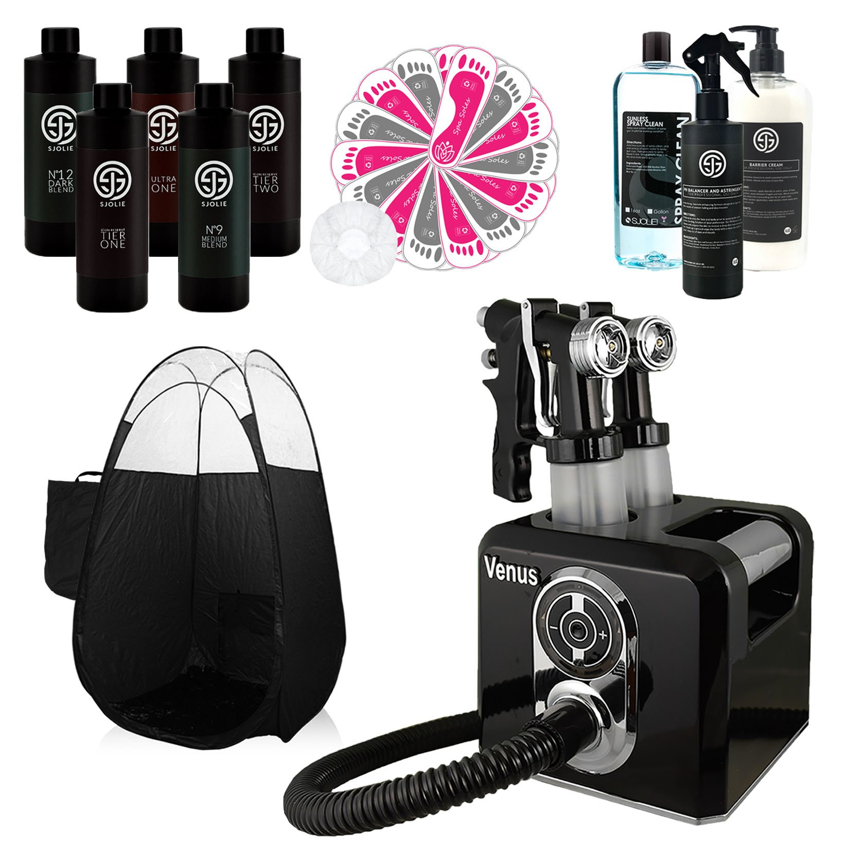Venus Spray Tan Machine and Gun System with SJolie Airbrush Tanning Solution Sunless Pro Kit and Pop Up Black Tent