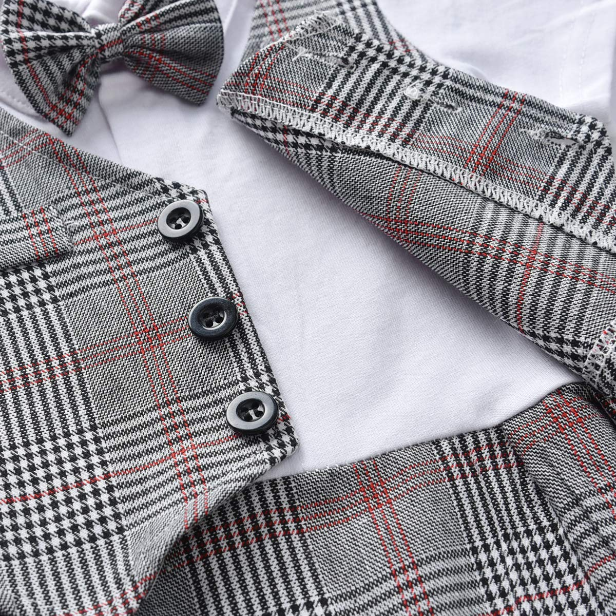 FERENYI Baby Boys Rompers Baby Boys Short Sleeve Bowtie Gentleman Clothes Boys Plaid Rompers