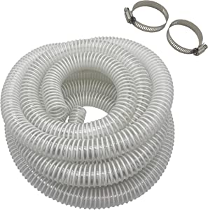 """At-Tec 1.5"""" Pool Filter Pump Hose, PVC Kinkproof Hose with 16.5 Feet Length,Includes 2pcs 304 Stainless Steel Hoses, White Color"""