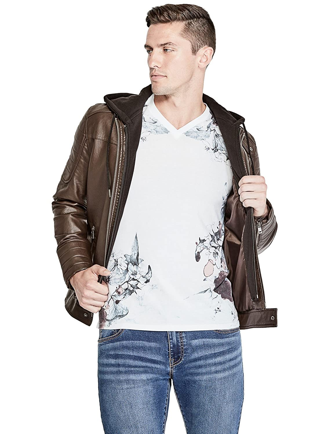 Guess Factory Men's Donato Faux-Leather Moto Jacket GuessFactory