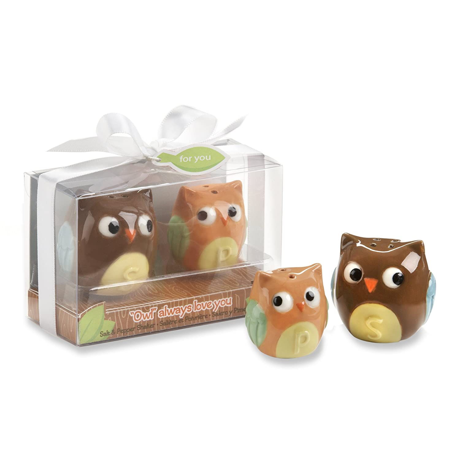 Kate Aspen Ceramic Mother and Baby Bird Salt and Pepper Shakers Owl Always Love You