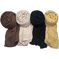 WANBAO 4 Pcs Women Scarves Shawl Keep Warm Scarf Wrap Scarves Fashion Shawls for Women, Coffee, Beige, Black, Yellow.