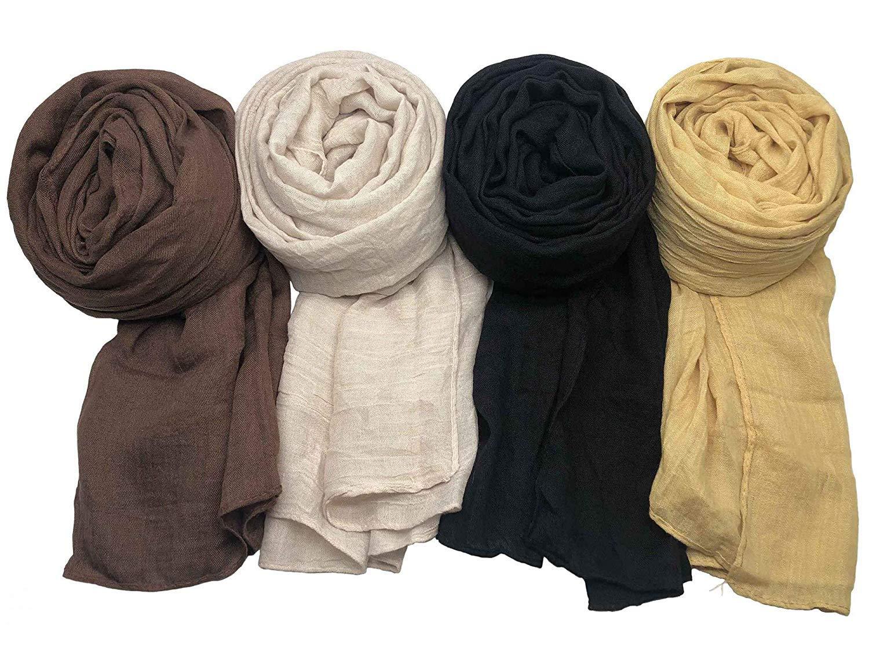 Beige Black Yellow. WANBAO 4 Pcs Women Scarves Shawl Keep Warm Scarf Wrap Scarves Fashion Shawls for Women Coffee