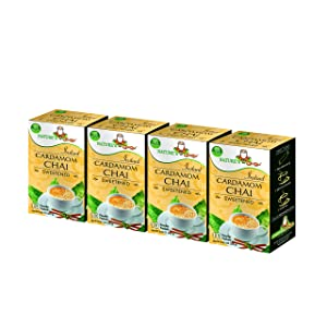Nature's Guru Instant Cardamom Chai Tea Drink Mix Sweetened 10 Count Single Serve On-the-Go Drink Packets (Pack of 4)