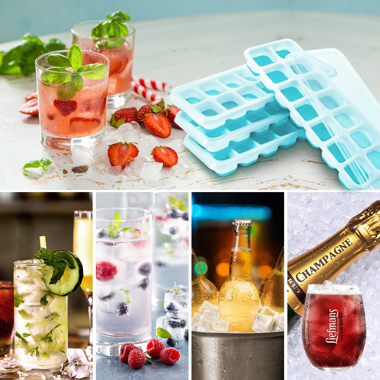 Lfgb Certified BPA Free Moulds with Non-Spill Lid Water Cocktail and other Drink TOPELEK 4 Packs Ice Cube Tray Baby Food Best for Freezer Green Whiskey