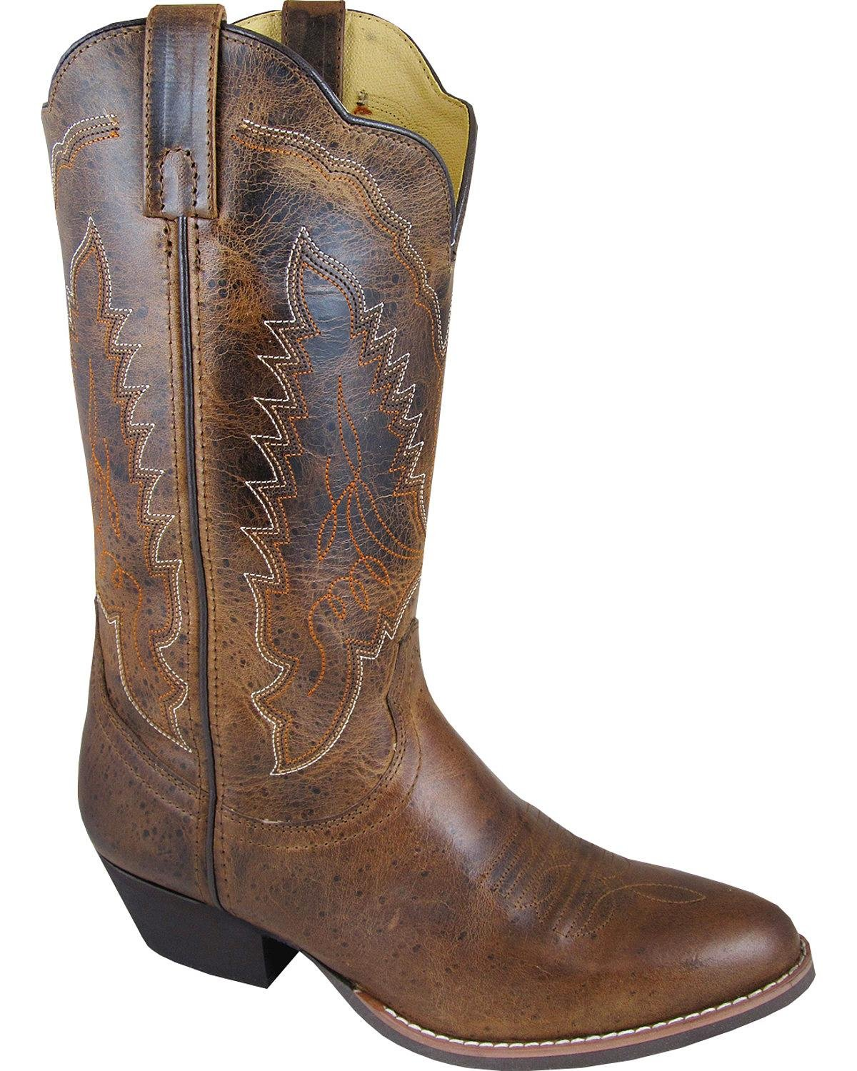 Smoky Mountain Boots Womens Amelia Brown Distress Leather 12in Western 7.5 M