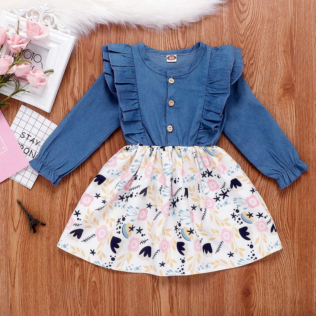 WOCACHI Winter Kids Baby Girls Bow Denim Jeans Dress Leopard Print Princess Outfits Long Sleeve Fairy Cute Elegant Party for 1-4 Years