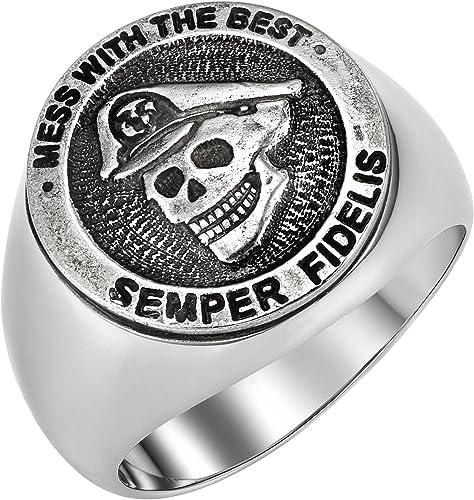 Fashion Stainless Steel Jewelry Masonic on Black JEWURA Biker Ring